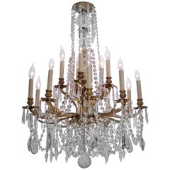 Louis XV Style Gilt Brass 15-Light Chandelier, Sweden, circa 1900