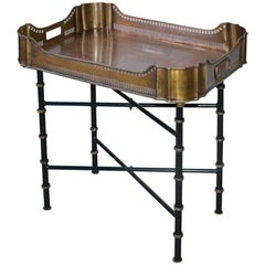 Vintage Brass Gallery Tray on Faux Bamboo Stand