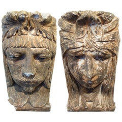 Pair of Male and Female Plaster Corbels