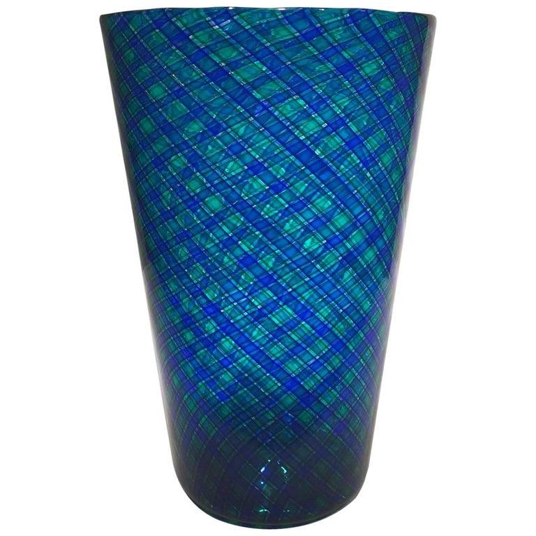 Venini  Murano Glass Blue and Green Large Vase circa 1970