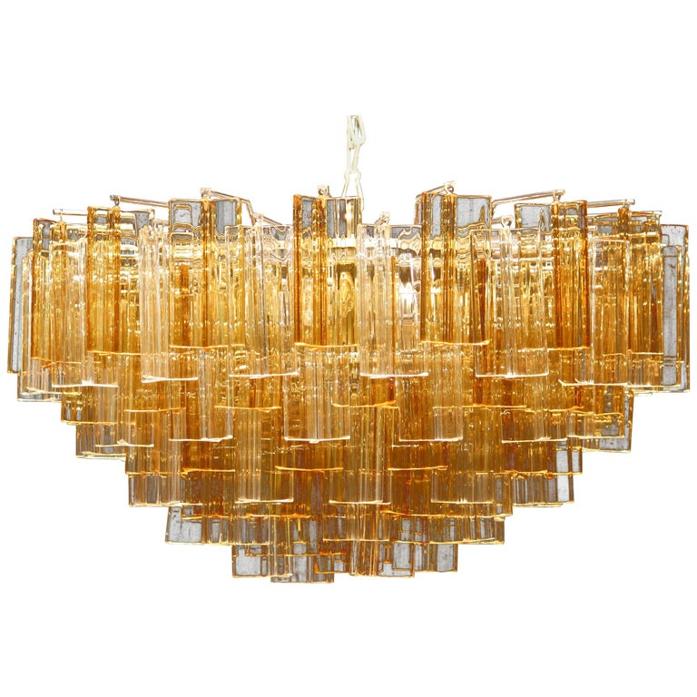 1960s, Large Venini Triedri Glass Chandelier, Italy For Sale