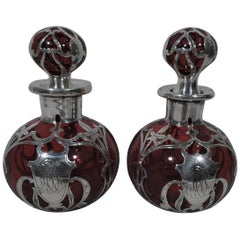 Pair of Gorham Art Nouveau Silver Overlay Red Glass Perfumes