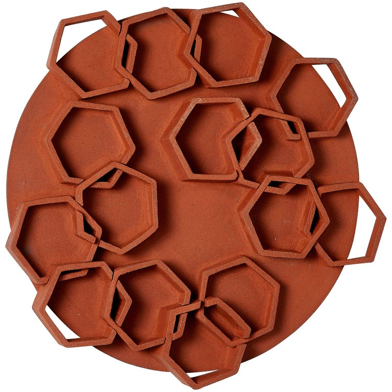 Hexagon Ceramic Wall Sculpture by Ben Medansky For Sale