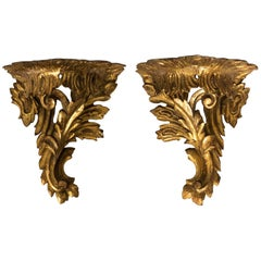 Pair of Italian Giltwood Brackets