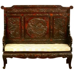 Japanese Carved Dragon Bench, Japan, circa 1900
