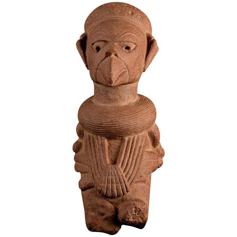 Rare Nok Terracotta Shaman in Bird Costume, Nigeria, Africa, 300-100 BC For Sale