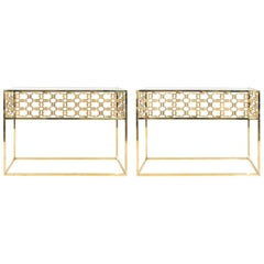 Pair of Midcentury Brass Modern Console Tables