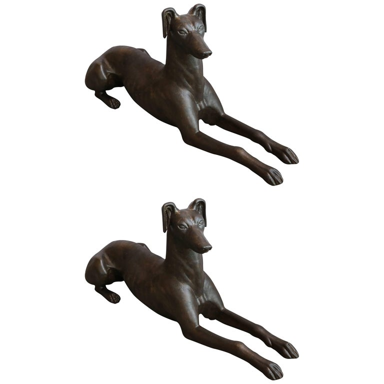 Pair of Cast Iron Greyhound Dog Statues