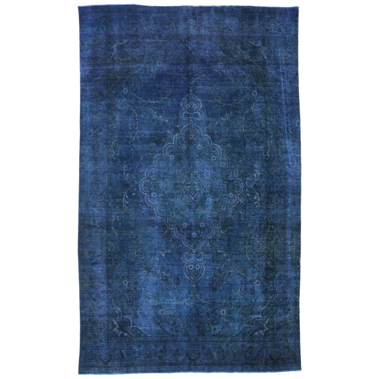Distressed Blue Overdyed Vintage Persian Rug Blue Persian Gallery