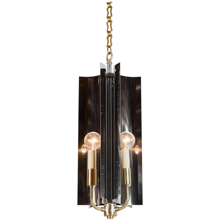 Sculptural Mid-Century Modern Curved Pendant Restored For Sale