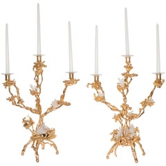 Pair of Triple Branch 24-Karat Gold-Plated Bronze Candlesticks by Claude Boeltz