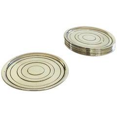 Hans Hansen Sterling Silver Coasters Set of 12 by Karl Gustav Hansen