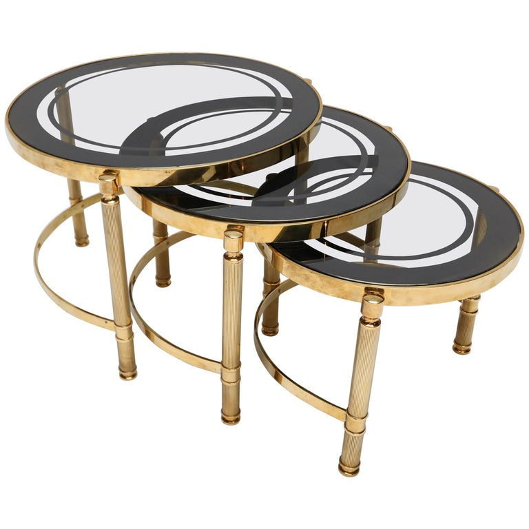 Set of Three Brass Nesting Tables with Smoked Glass Tops