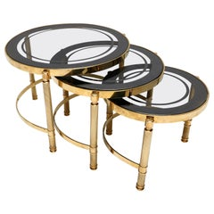 Set of Three Round Brass Nesting Tables with Smoked Glass Tops