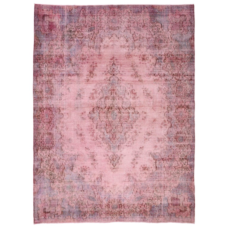 Distressed Pink Overdyed Vintage Persian Rug With Modern