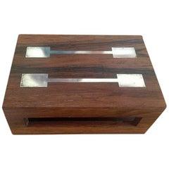 Hans Hansen Sterling Silver Rosewood Match Stick Box