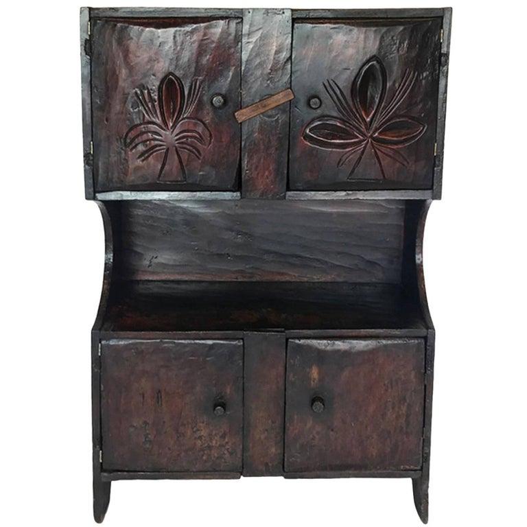 Antique Guatemalan Primitive Cabinet - Antique Blue Distress Painted PA Rustic Primitive Jelly Cupboard