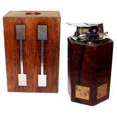 Hans Hansen Rosewood and Sterling Silver Matchbox and Lighter