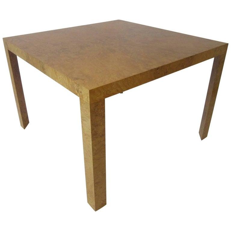Milo Baughman Burl Wood Game or Dining Table