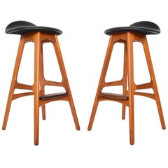 Pair of Erik Buck Teak Bar Stools