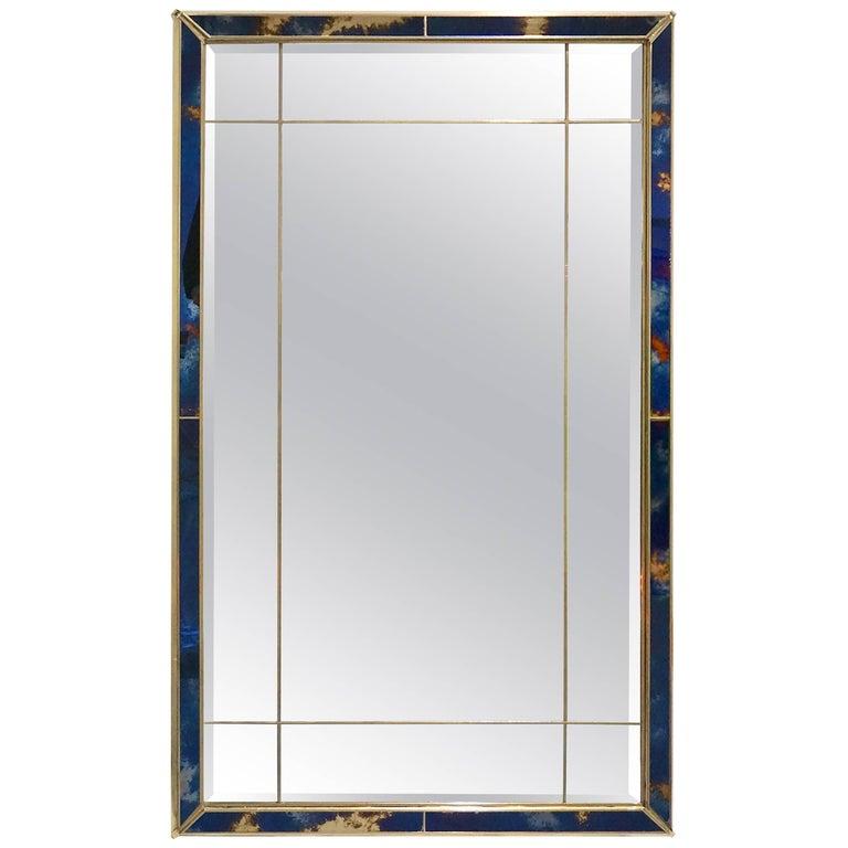 1980s Italian Vintage Gold Copper and Blue Metallic Murano Art Glass Mirror