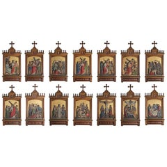 Set of Fourteen 19th Century Gothic Stations of the Cross Religious Paintings