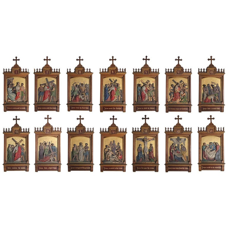 Set of Fourteen 19th Century Gothic Stations of the Cross Religious Paintings For Sale
