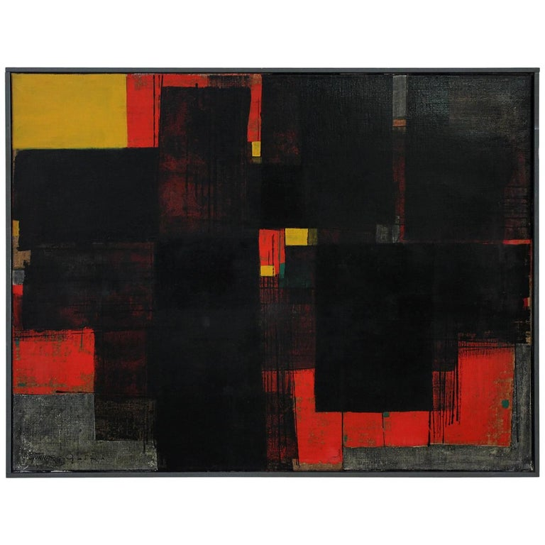 Gunnar S. Gundersen Abstract Oil on Canvas, 1957 For Sale