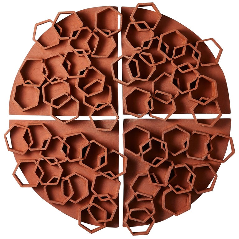 Hexagon Terra Cotta Wall Sculpture by Ben Medansky For Sale