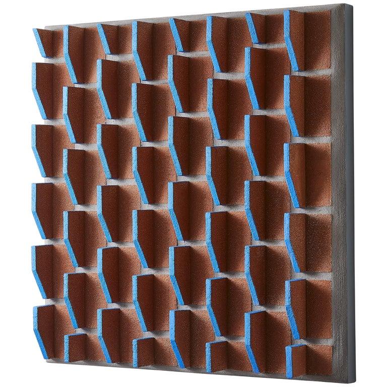 Terracotta and Blue Geometric Wall Sculpture by Ben Medansky