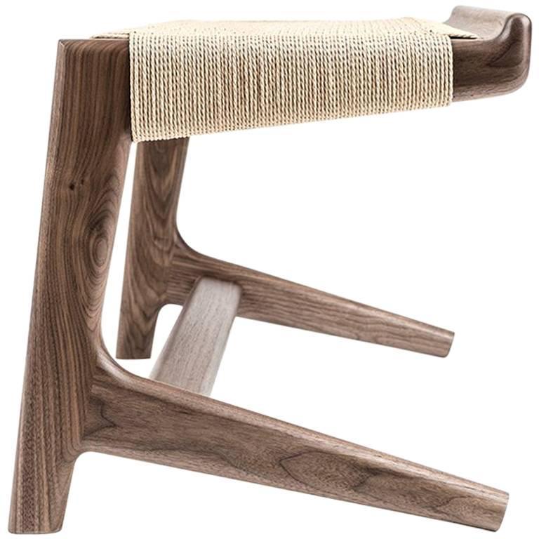 Bench, Cantilever, Mid Century, Walnut, Danish Cord, Weave, Hardwood, Semigood