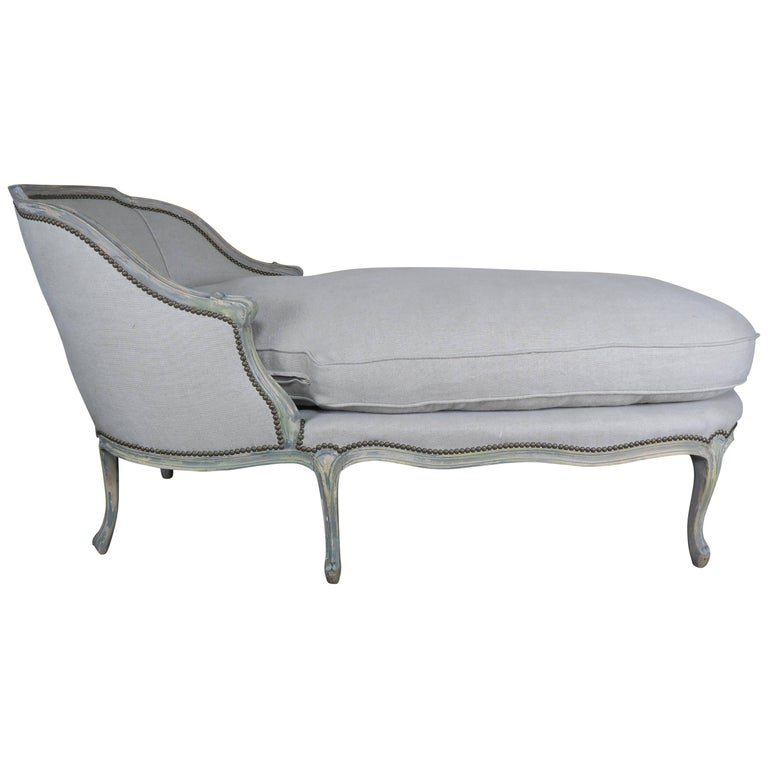 French painted louis xv style chaise for sale at 1stdibs for Chaise louis xv