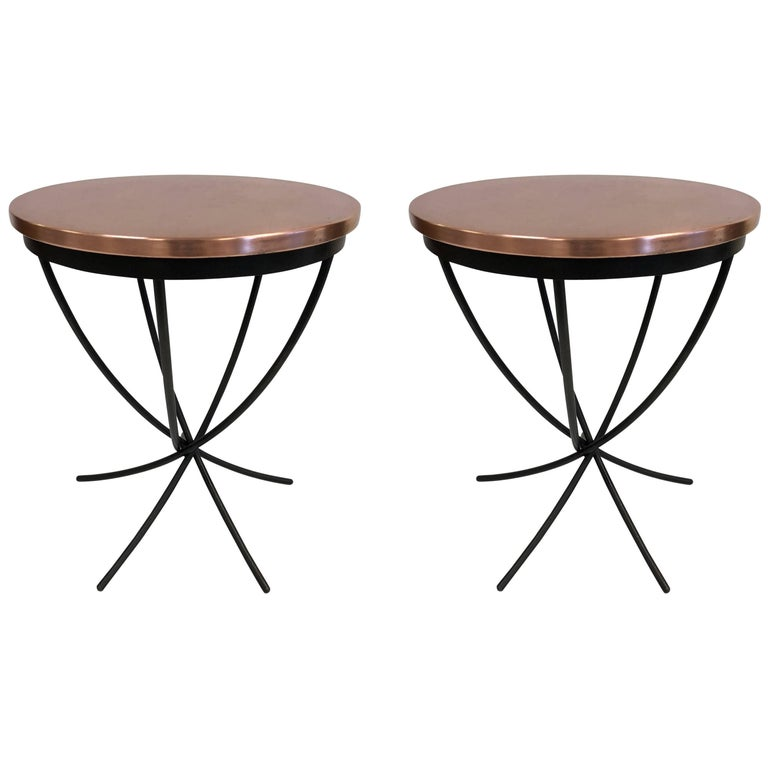 Pair of Wrought Iron and Copper Top Side Tables