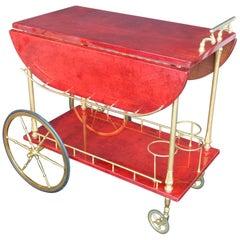 Aldo Tura Red Parchment Bar Cart