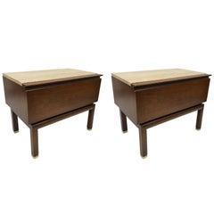 Pair of Mid-Century Modern Walnut and Travertine Top Nightstands