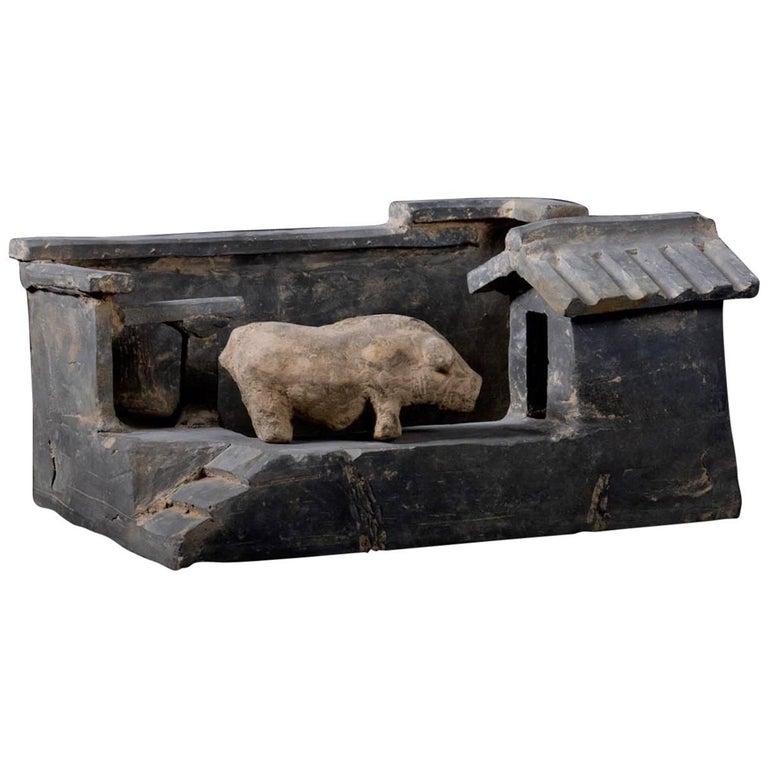 Terracotta Han Dynasty Farm with Pig, China, 200 BC