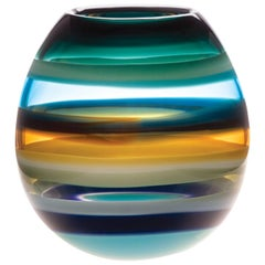 Modern Glass Vase, Aqua Barrel, Handmade, Sculpture, In Stock