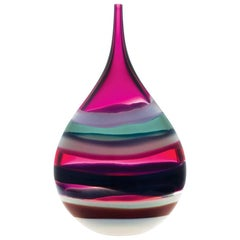 Contemporary American Teardrop Vase, Blown Glass, Handmade, Sculpture, In Stock
