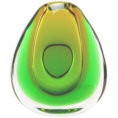 Italian Flavio Poli Sommerso Art Glass Vase in Emerald Green