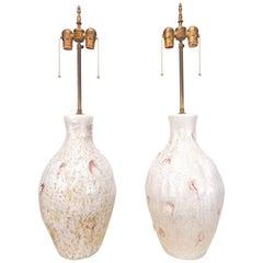 1950s Marcello Fantoni Italy Abstract Art Pottery Lamps