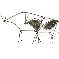 Pair of Abstract Bull Sculptures after Picasso by James Bearden.