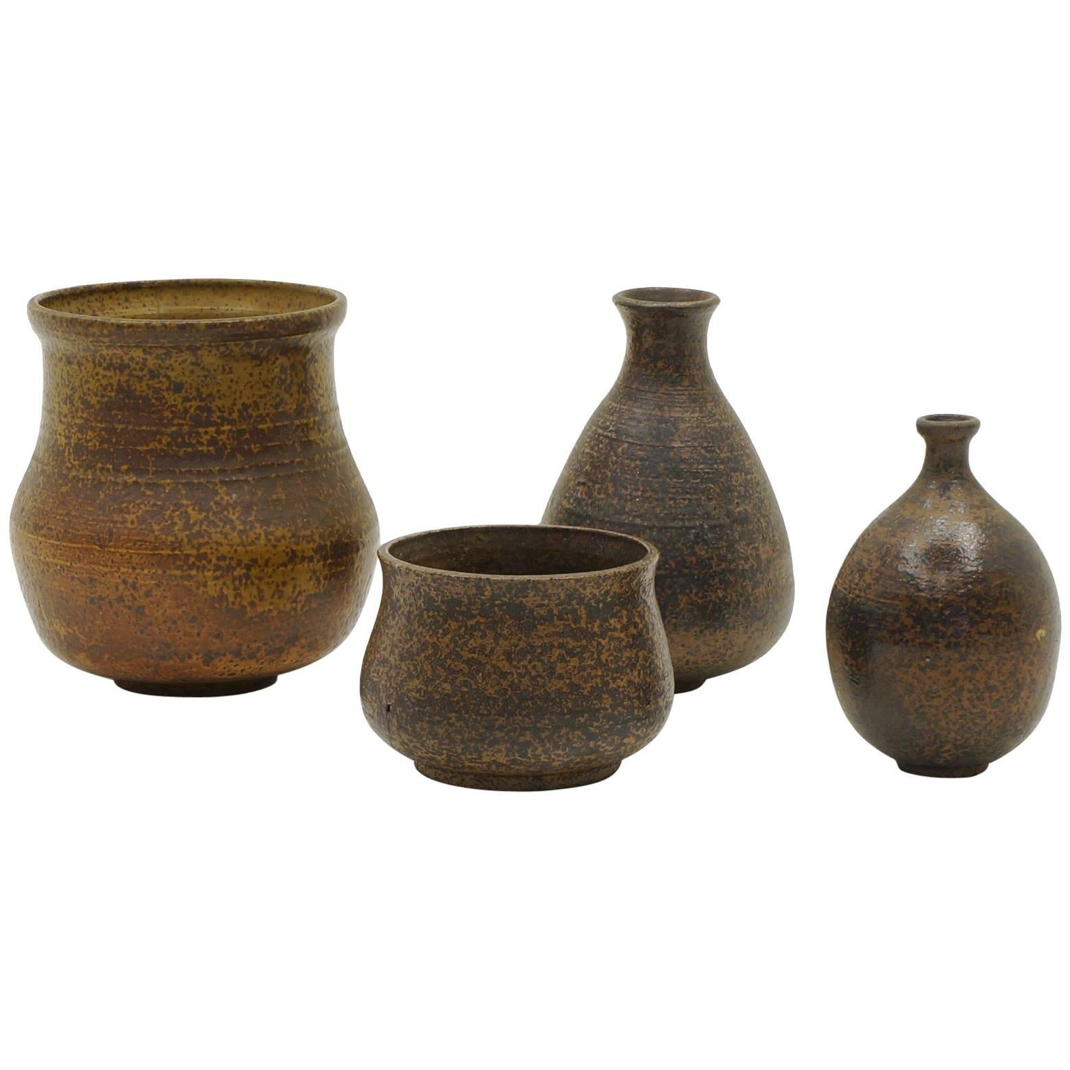 Small Pottery Vases, Set of Four