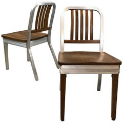 Shaw Walker Aluminum and Maple Side Chairs