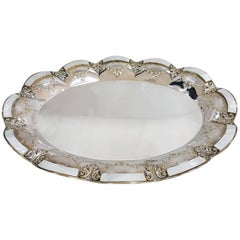 20th Century Italian Oval Sterling Silver, Mother of Pearl Tray gilted details