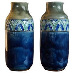 Great Quality & Condition Pair of Arts and Crafts Ceramic Vases by Royal Doulton