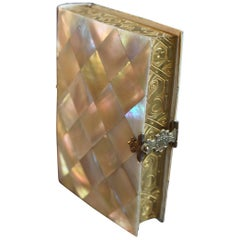 Mother-of-Pearl Book of Prayer with Ihs Embossed Brass Clasp and Gilt Pages