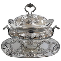 20th Century Italian Sterling Silver Soup Tureen Plus Tray Baroque replica