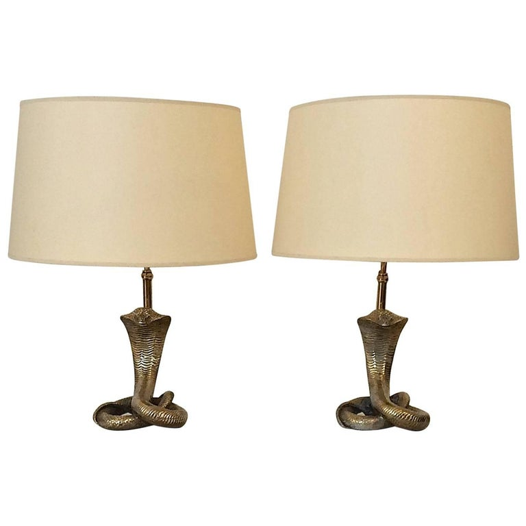 Pair of Brass Cobra Table Lamps, circa 1970, Italy