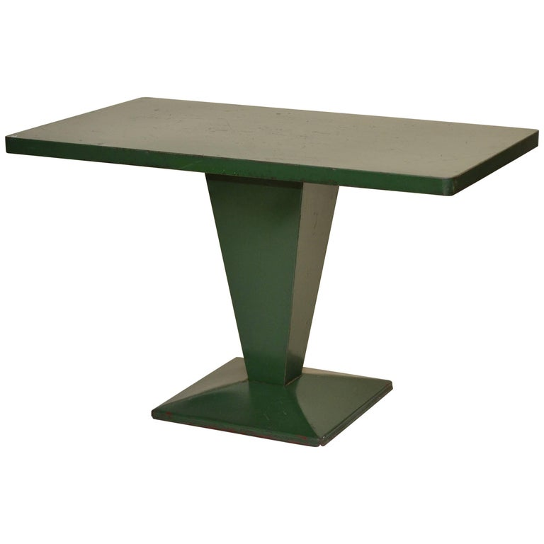 xavier pauchard french industrial dining room furniture 1950s xavier pauchard green rectangular metal bistrot french table by tolix for sale