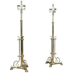 Pair of Brass Telescopic Standard Lamps